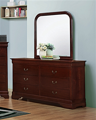 Classic Louis Philippe Style Red Brown Finish Dresser