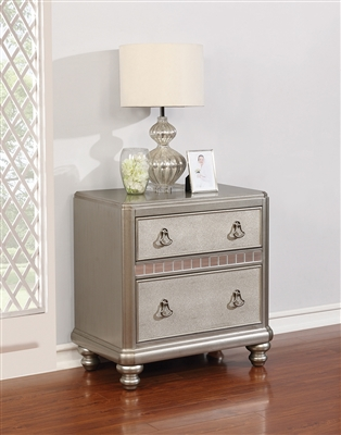 Daliah Metallic Platinum 2 Drawer Nightstand w/ Mirrored Accents