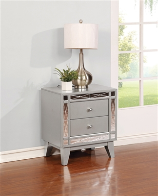 Greyson 2 drawer Metallic Finish Mirrored Nightstand with Acrylic Knobs