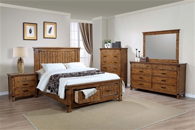 Rustic Honey Finish King Storage Bed