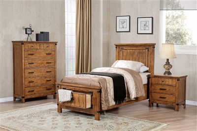 Rustic Honey Finish Twin Storage Bed