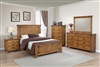 Rustic Honey Finish Solid Wood Panel Bed