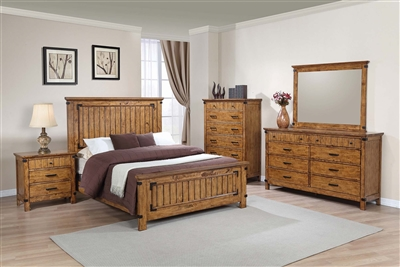 Rustic Solid Wood Full Size Panel Bed