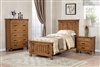 Rustic Honey Oak Solid Wood Twin Panel Bed