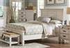 Floria II Modern Rustic Distressed White Finish King Bed