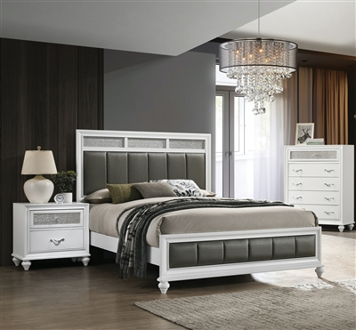 Elegant White Bed With Padded Headboard