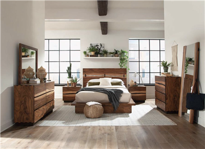 Madden Rustic Smoky Walnut Finish Queen Storage Bed by Scott Living