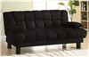 Plush Black Microfiber Convertible Sleeper Sofa CM2150