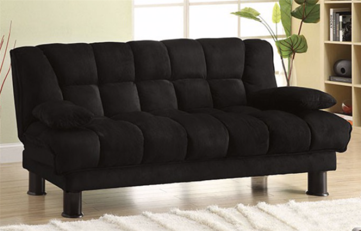 Picture of: Black Microfiber Convertible Sofa Bed