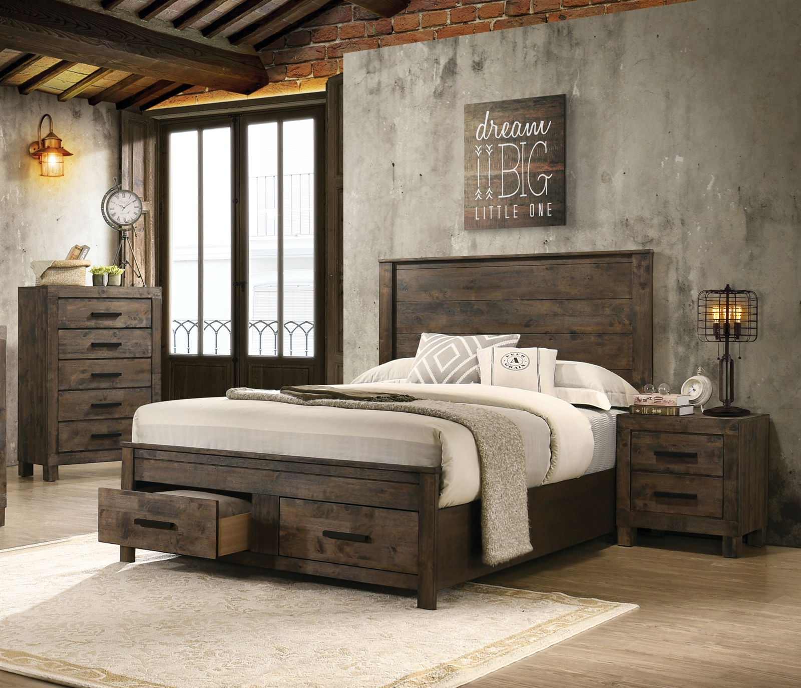 - Rustic Solid Wood Platform Sleigh Bed In Golden Brown Finish