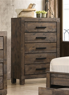 Rustic Solid Wood 5-Drawer Chest