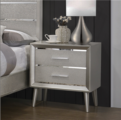 Zane Collection Sterling Metallic Nightstand