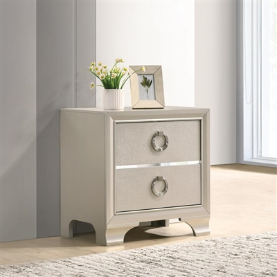 Salford 2-Drawer Nightstand Metallic Sterling - Coaster