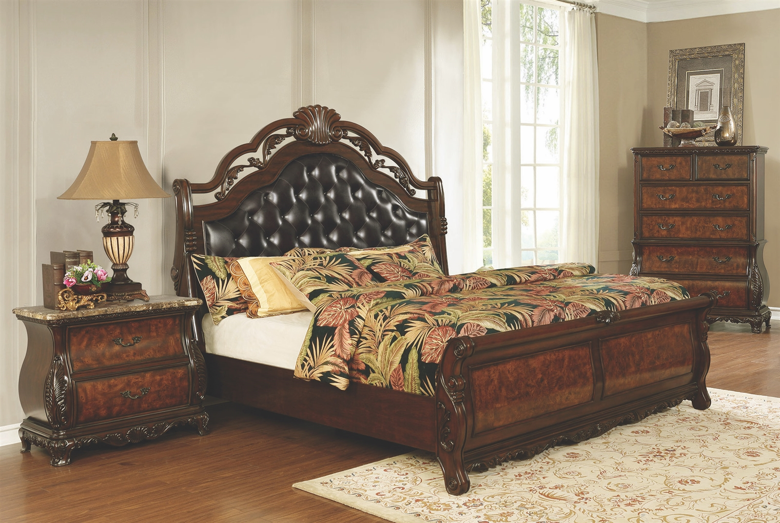 - Dark Burl Finishes Sleigh Bed With Intricate Carved Wood Details