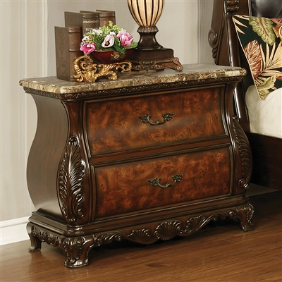Exeter 2-Drawer Bombe Shape Dark Burl Nightstand with Genuine Marble Top
