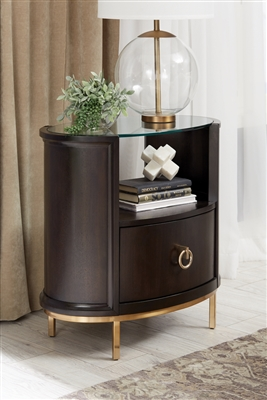 Formosa 1-Drawer Oval Nightstand Americano And Rose Brass