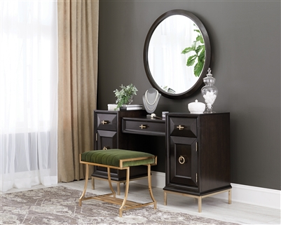 Formosa 4-Drawer Vanity Desk Americano And Rose Brass
