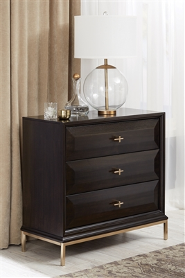 Formosa 3-Drawer Rectangular Nightstand Americano And Rose Brass