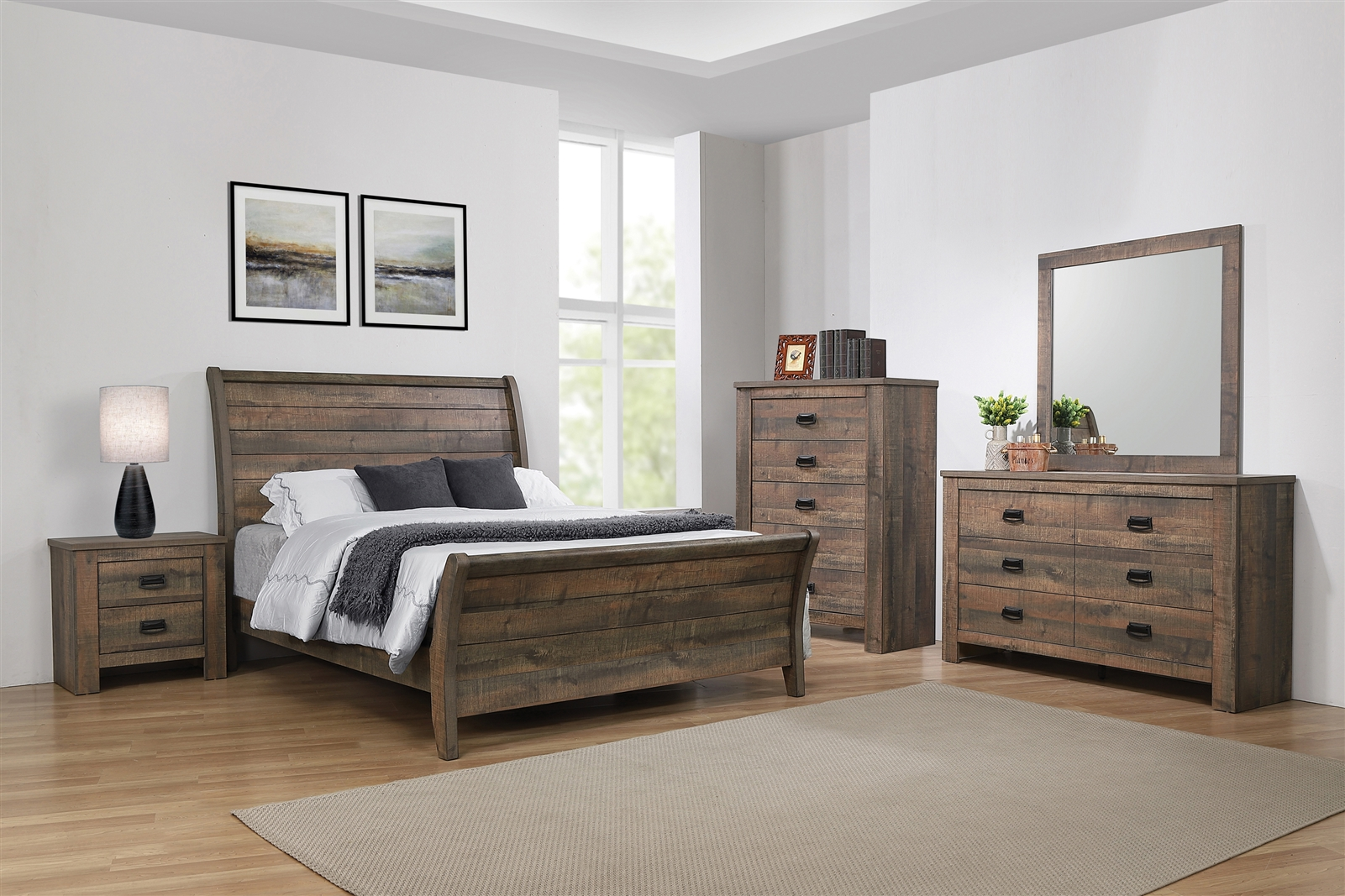- Rustic Plank Sleigh Bed In Weathered Oak - Coaster 222961