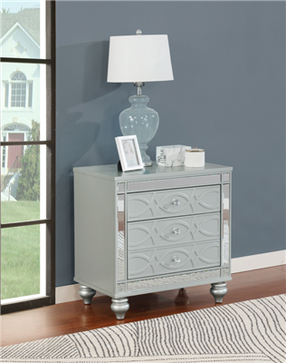 Gunnison 2-Drawer Nightstand Silver Metallic