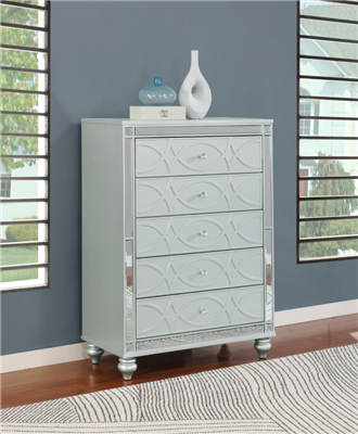 Gunnison 5-Drawer Chest Silver Metallic