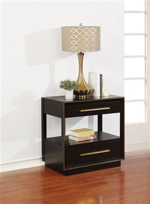 Durrango Collection Black & Gold Finish 2-Drawer Nightstand