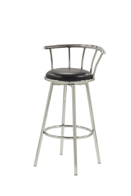 Retro Style Swivel Bar Stool in Black and Silver