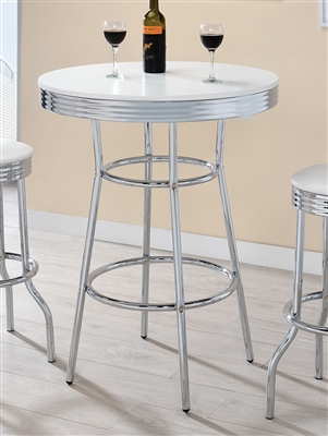 50's Style Retro Bar Table With Gleaming Chrome Base & Choice of Black or High Gloss Top