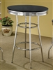 50's Style Retro Bar Table With Gleaming Chrome Base & Choice of Black or White High Gloss Top