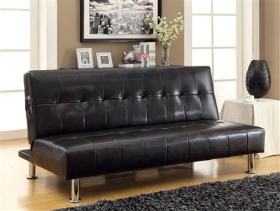 Black Leatherette Sofa Bed by Furniture Of America CM2669
