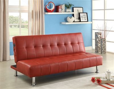 Red Leatherette Futon by Furniture Of America CM2669