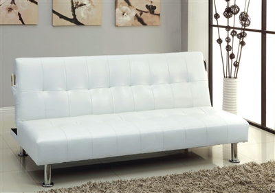 White Leatherette Futon by Furniture Of America CM2669