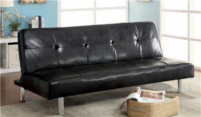 Black Leatherette Futon by Furniture Of America CM2672