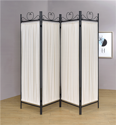 4-Panel Folding Screen Beige And Black