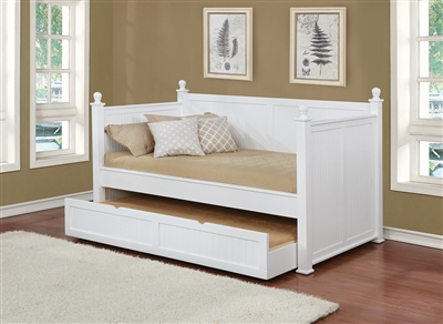 Charm White Cottage Style Twin Daybed w/ Trundle