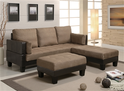 Urma Tan Microfiber convertible sofa bed