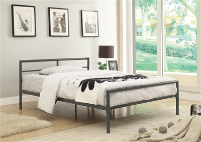 Contemporary Silver Metal Twin Size Platform Bed