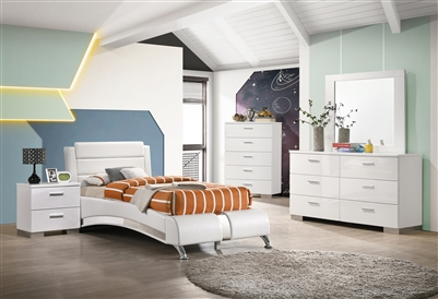 Modern white leatherette low profile platform bed