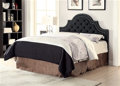Tufted Charcoal Upholstered Headboard with Silver Accent Trim