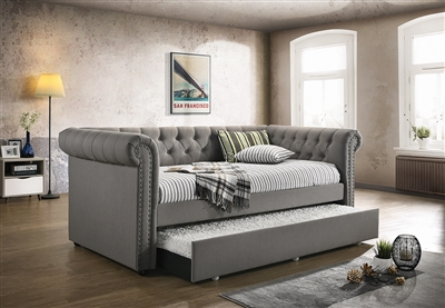 Kepner Tufted Daybed with Trundle in Gray