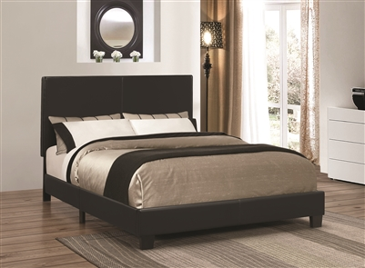 Muave Full Size Black Leatherette Platform Bed