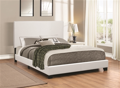 Muave Full Size White Leatherette Platform Bed
