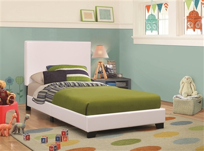Muave Twin Size White Leatherette Platform Bed