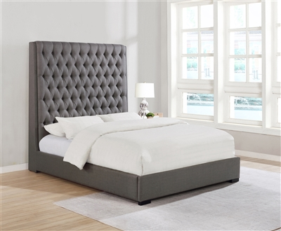 Cherie Grey Linen Tufted Queen Bed