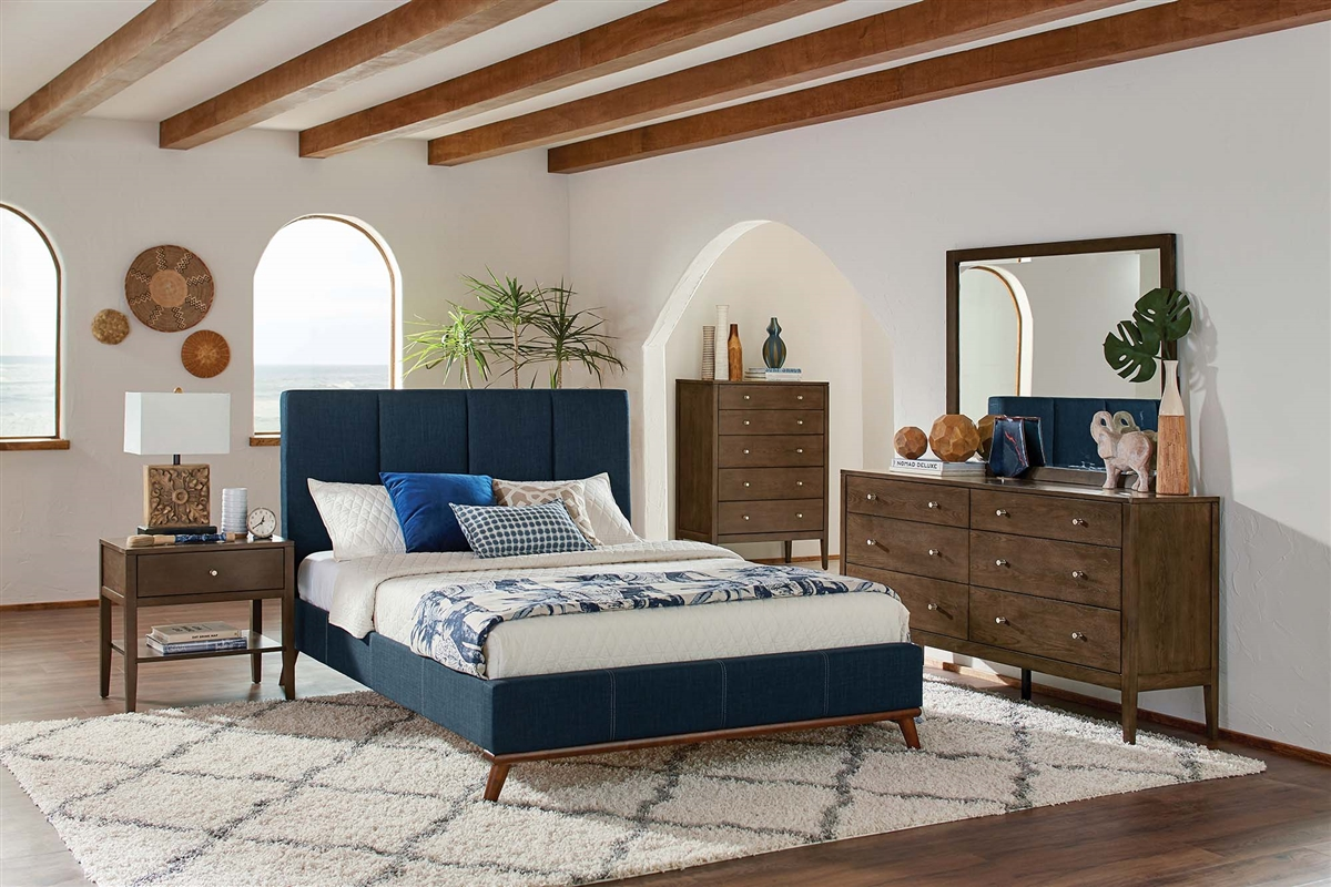 Image of: Bailey Blue Upholstered Mid Century Modern Queen Platform Bed