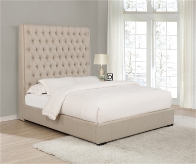 Cherie Cream Linen Tufted Queen Bed
