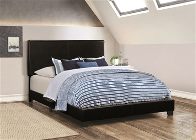 Sleek Full Size Black Leatherette Bed