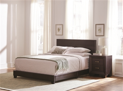 Sleek Low Profile Brown Leatherette Full Bed