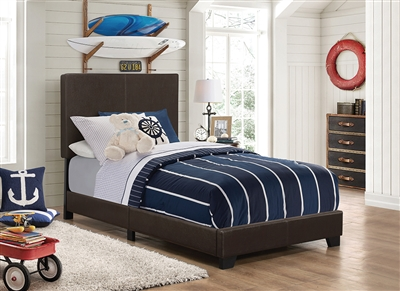 Sleek Low Profile Brown Leatherette Twin Bed