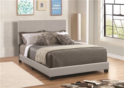 Sleek Low Profile Grey Leatherette Grey Bed